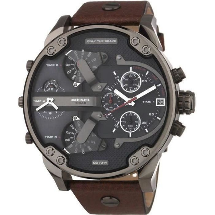 diesel montre chronographe quartz dz7314 bracelet cuir homme gris chic achat vente montre. Black Bedroom Furniture Sets. Home Design Ideas