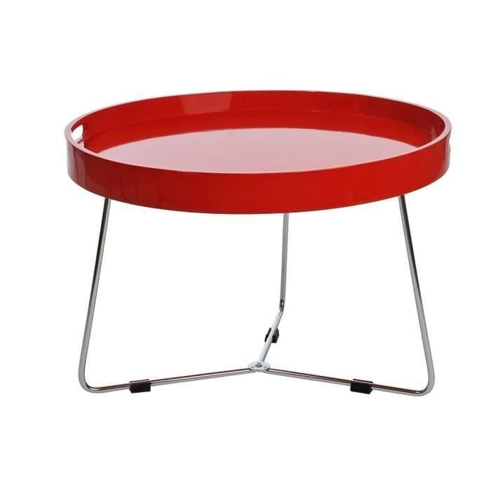 Jline table basse ronde 60x60 cm laqu rouge achat - Table ronde rouge cuisine ...
