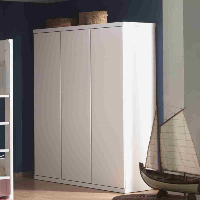 lara armoire 3 portes laqu e blanche achat vente. Black Bedroom Furniture Sets. Home Design Ideas
