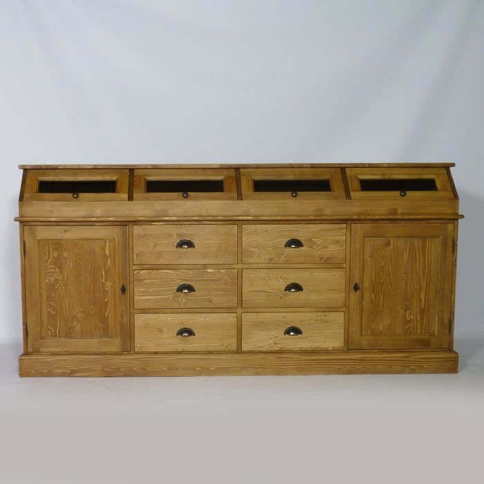 Meuble buffet bas 4 trappes en pin massif cir achat for Meuble en pin massif