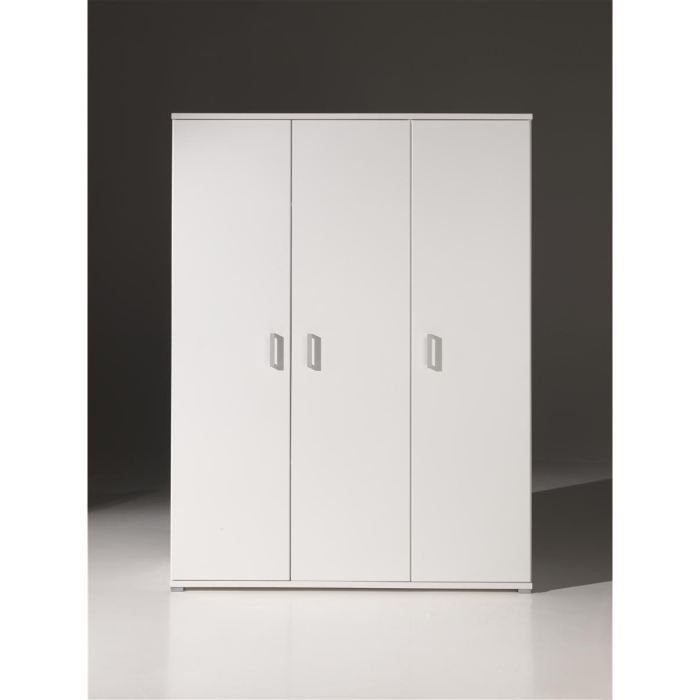 milan armoire 3 portes blanche achat vente armoire de. Black Bedroom Furniture Sets. Home Design Ideas