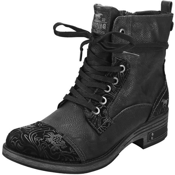 Lace Femme Mustang Noir up Noir Bottes Top High yb7Yfg6