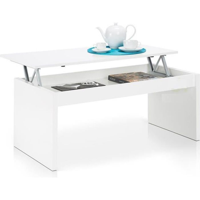 table basse blanc brillant avec plateau relevable achat vente table basse jardin table basse. Black Bedroom Furniture Sets. Home Design Ideas