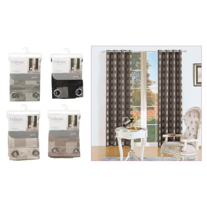 double rideau cubes 140 x 260 cm gris achat. Black Bedroom Furniture Sets. Home Design Ideas