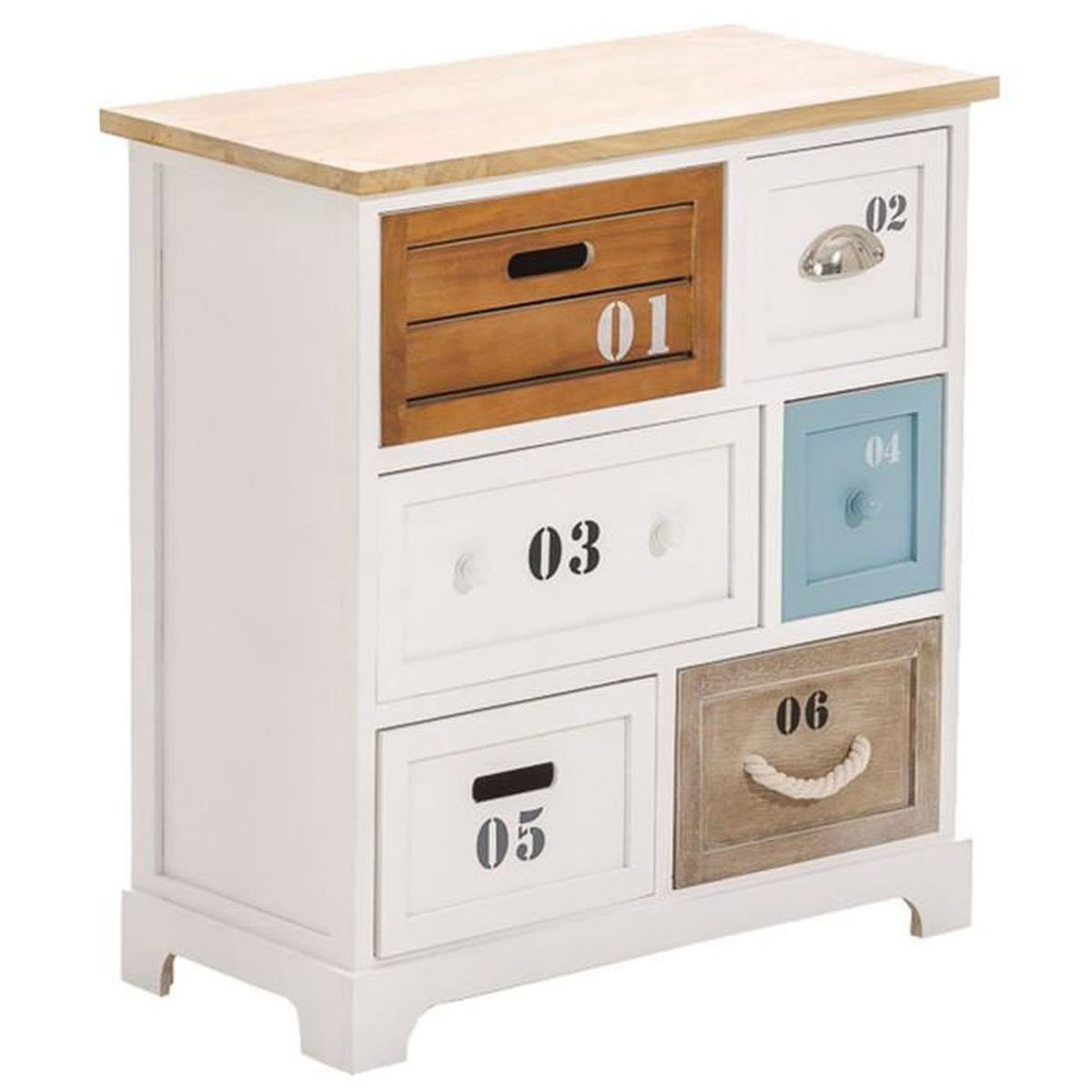 commode avec 6 tiroirs en bois blanc 65 5 x 60 x 30 cm achat vente commode de chambre. Black Bedroom Furniture Sets. Home Design Ideas