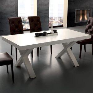 TABLE À MANGER SEULE Table à manger extensible design blanc LENA  180 c