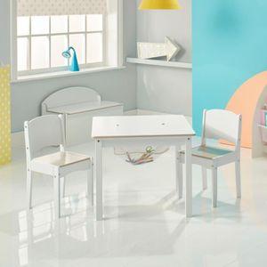 TABLE ET CHAISE Ensemble Blanc Table avec rangement et 2 chaises b