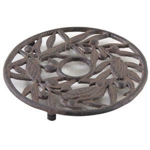 DESSOUS DE PLAT  Dessous de plat rond en font motif cigale et olive