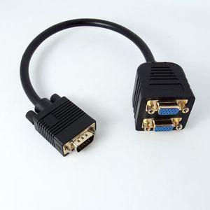 CÂBLE AUDIO VIDÉO Kingwing® Or 1 mâle vers 2 VGA adaptateur ordinate