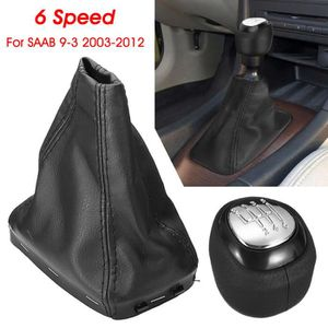 OBCWSG 5//6 Speed Car Shift Gear Knob Covered Real Leather,For SAAB 9 3 2003 2004 2005 2006 2007 2008 2012