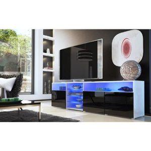 MEUBLE TV Meuble tv bas blanc/noir 194 cm