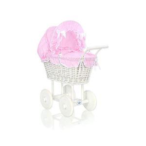 LANDAU - POUSSETTE Landau de poupée blanc Léa avec textile rose à poi