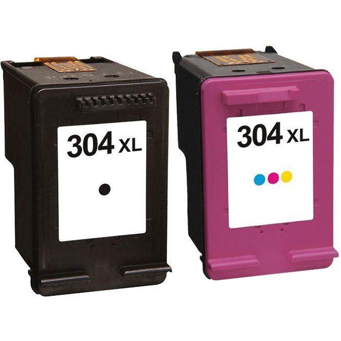 Pack 2 cartouches d'encre N° 304 XL Noir et Couleur Grande Capacité pour imprimante HP ENVY 5030
