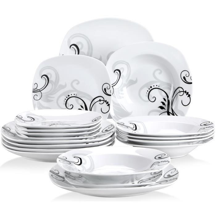 Veweet ZOEY 18pcs Assiettes Service de Table Pocelaine Assiettes Plates Assiette Creuse Assiette à Dessert Vaisselles Fleuri