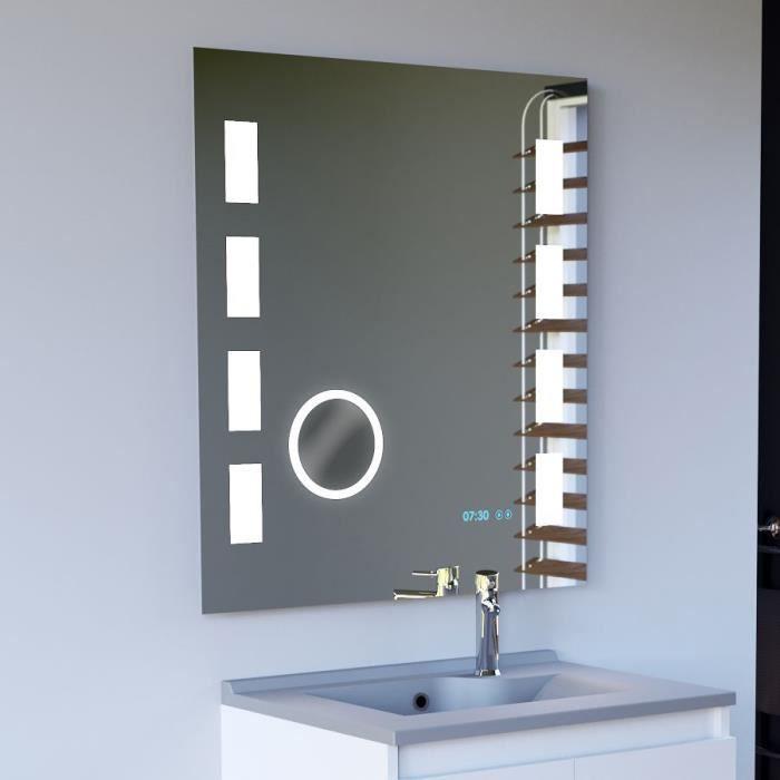 Miroir anti-buée EXCELLENCE 80x80 cm - éclairage intégré à LED, interrupteur sensitif, loupe et heure