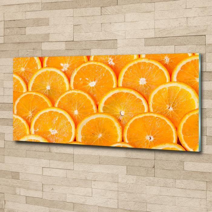 Tulup 125x50cm Tableau sur verre acrylique- Nourriture boissons - Tranches D'orange - Orange