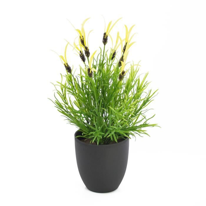 Lavande papillon artificielle, jaune, 10 panicules, 40 cm - lavande en pot - Fleur artificielle lavande - artplants