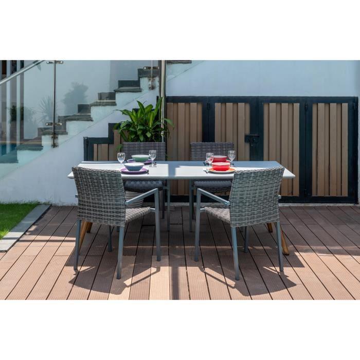 Salon de jardin repas KEOMI pour 4 personnes avec 1 table rectangulaire en béton et 4 chaises en aluminium, rotin synthétique