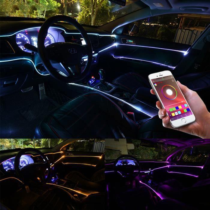 6 en 1 RVB LED lumière d'ambiance de voiture 8M lumière de bande de fibre optique, production de musique de bricolage de contrôle d'