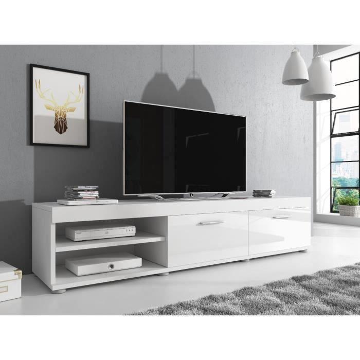 e-Com Meuble TV Elsa - 140 cm - Mat Blanc et Blanc Brillant