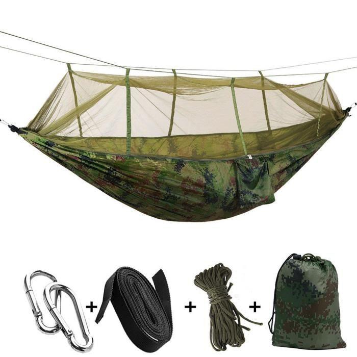 Hamac avec moustiquaire - Pour l'extérieur et le camping - Portable - Tissu parachute - Tente pour deux personnes - 260 x 140 cm