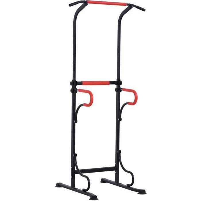 Station de musculation multifonctions barre de traction chaise romaine hauteur réglable acier noir rouge 98x84x219cm Rouge