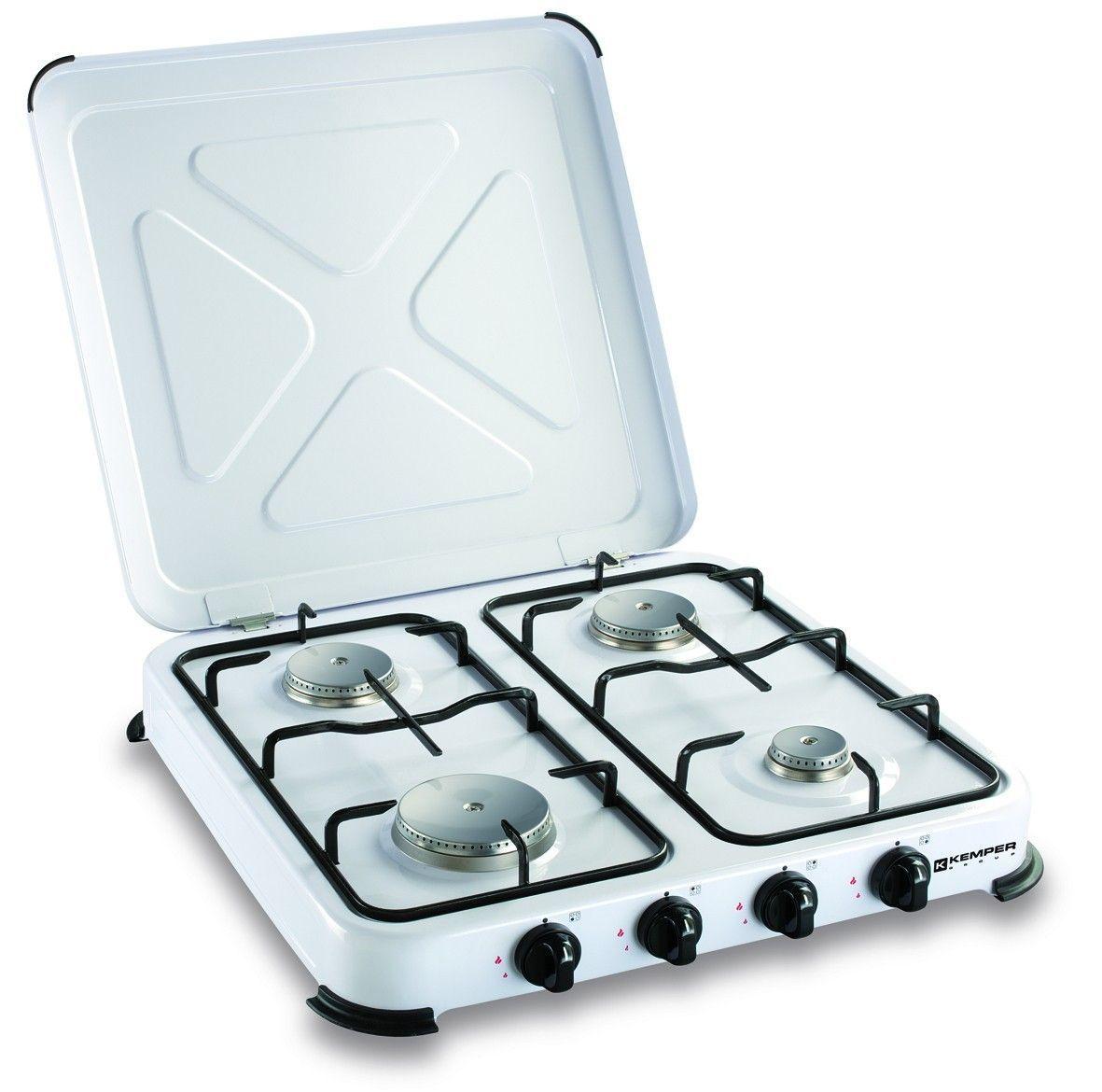 Plaque de cuisson gaz portable 4 feux - 4650 W - blanc laqué