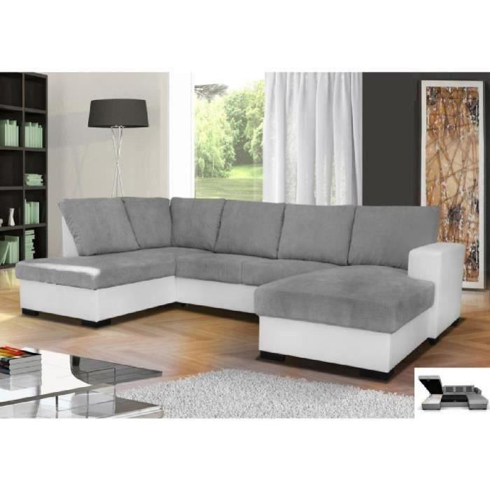 Canapé d'angle en U convertible OARA 6 places tissu gris et simili cuir blanc