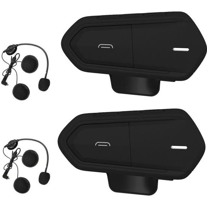 2 Pcs Intercom Moto Bluetooth, QTBE6 Kit Oreillette Bluetooth Casque Moto Interphone Main Libre Noir
