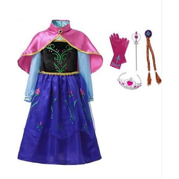 Filles Anna Elsa Robe avec Cape Enfants Princess Party Cosplay Costume Enfants Halloween Habillage fantaisie 2-14 ans