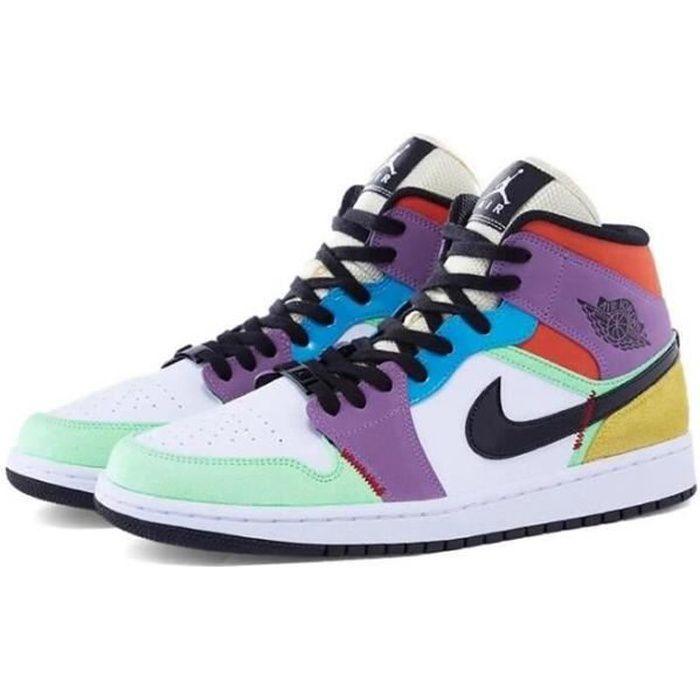 """Nike Air Jordan 1 Mid SE """"Multicolor"""" Chaussures de Basket Air Jordan One Pas Cher pour Homme Femme Multicolore"""