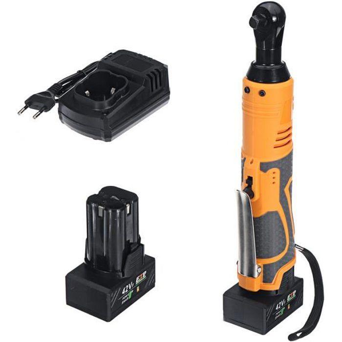 NEUFU 42V 90Nm Clé à Angle à Cliquet Sans fil Electrique LED + 2 Batteries ORANGE