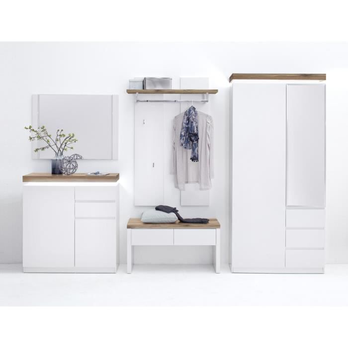 Ensemble meuble d'entee coloris laque blanc mat avec plateaux en chene noueux huile