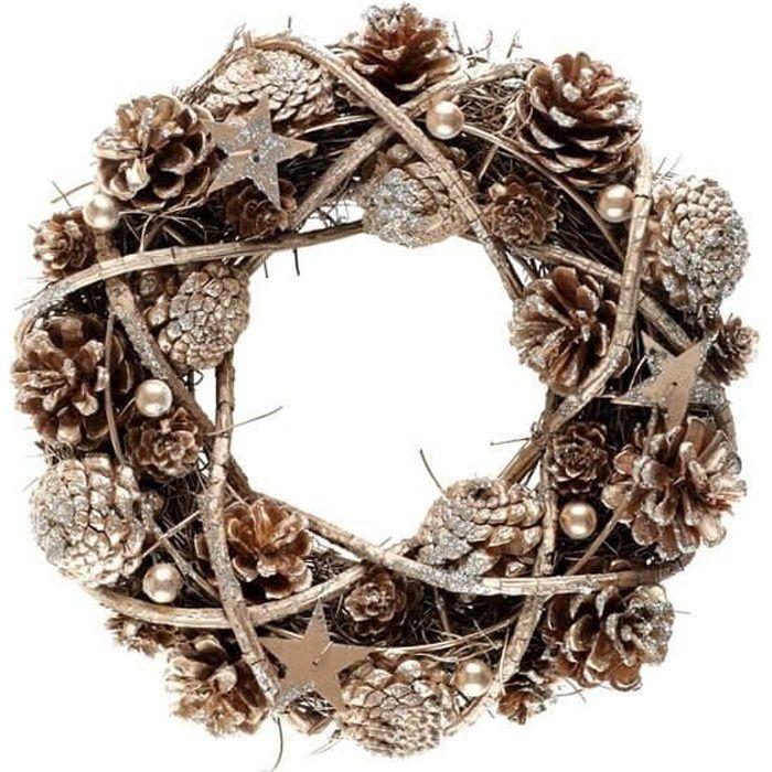 Décoration couronne Noël en bois et avec des pommes de pin pailletées (x1) REF/7184