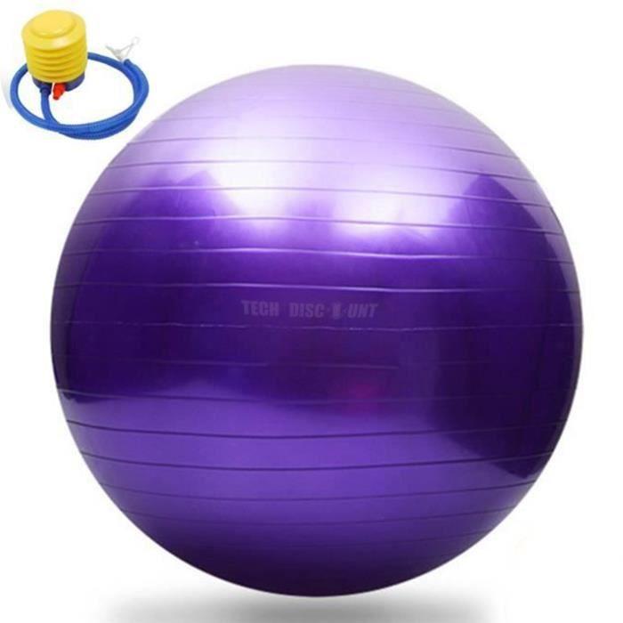 TD® Swiss Ball pour Fitness Yoga- 65 cm Anti-éclatement + pompe violet - Ballon d'Accouchement