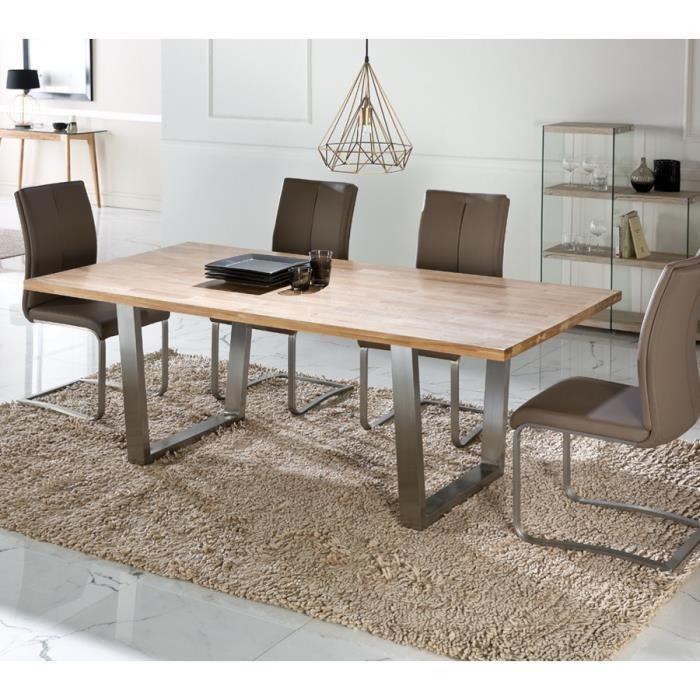 Table de repas plateau Chêne massif - STEPH - L 200 x l 100 x H 76 cm