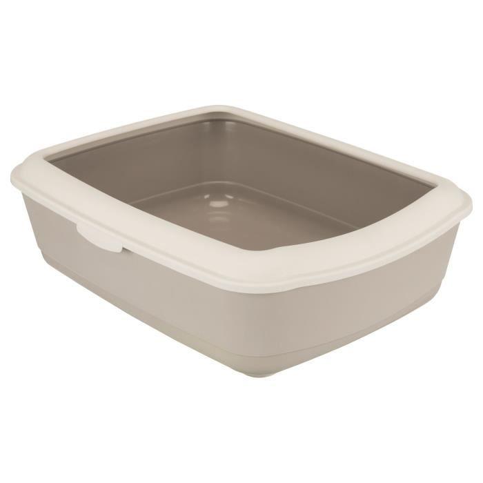 TRIXIE Bac à litière Classic - 37 x 15 x 47 cm - Avec rebord - Beige taupe et taupe clair - Pour chat