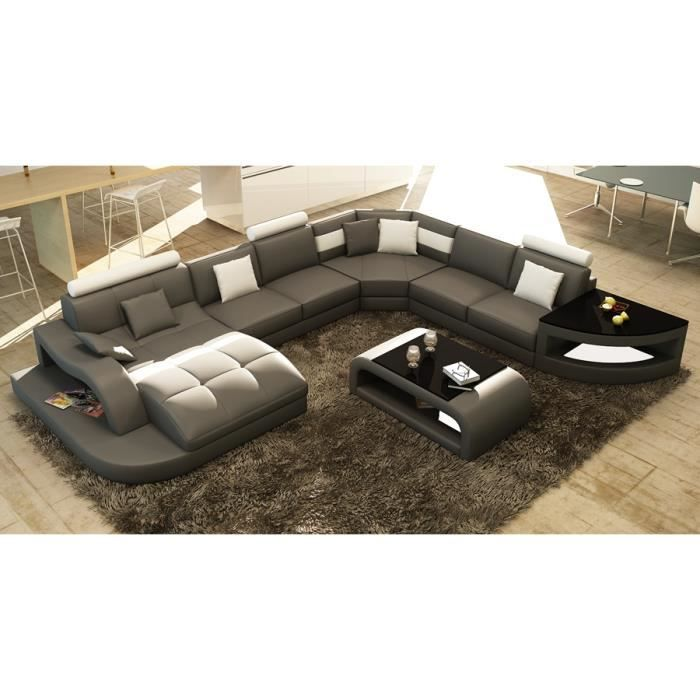 canap d 39 angle design panoramique gris et blanc achat vente canap sofa divan soldes. Black Bedroom Furniture Sets. Home Design Ideas