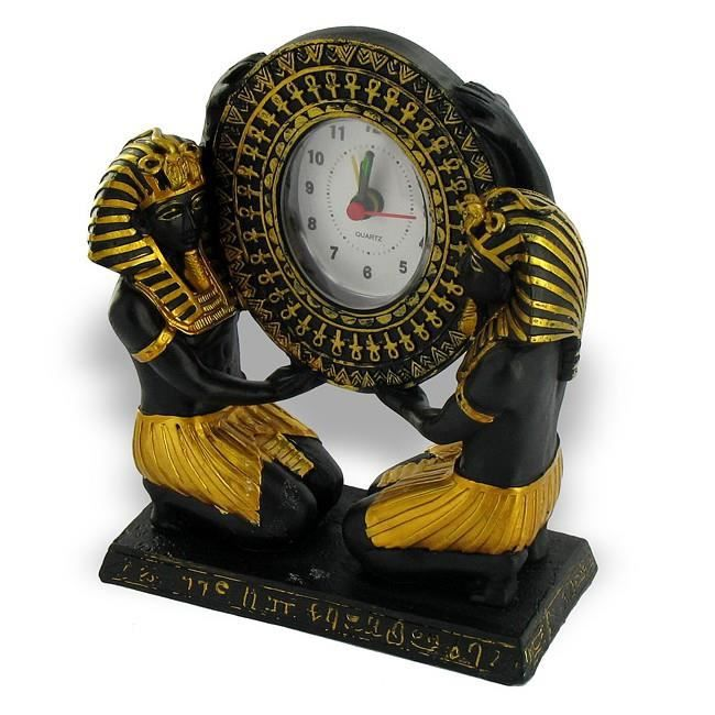 Horloge egyptienne serviteurs dor e et noire achat for Decoration egyptienne murale