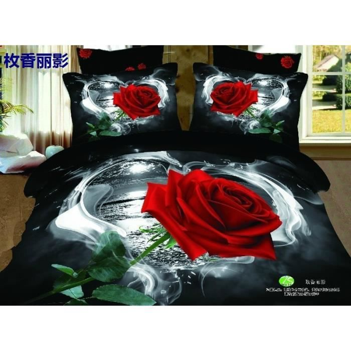 parure 3d 2 pers roses rouges sur fond noir n 3 achat vente parure de drap cdiscount. Black Bedroom Furniture Sets. Home Design Ideas