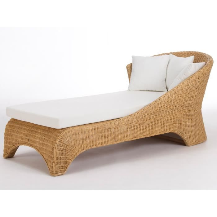 Canap long milano en rotin laqu naturel massivum achat for Canape convertible en rotin
