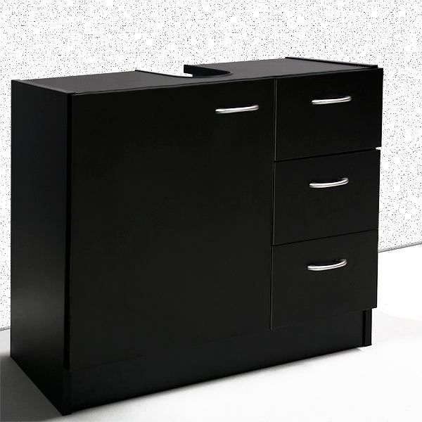 meuble sous lavabo noir hauteur 54cm achat vente. Black Bedroom Furniture Sets. Home Design Ideas