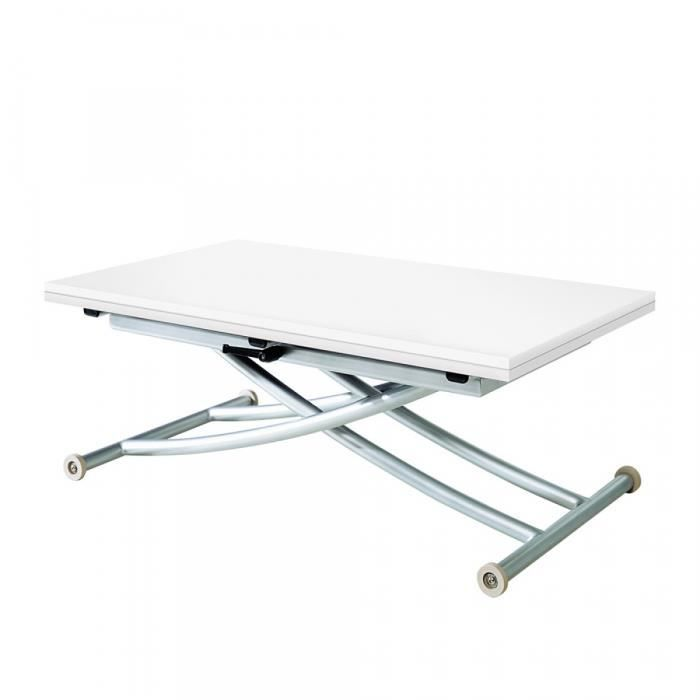Table basse relevable extensible first blanc laqu salon - Table relevable blanc laque ...