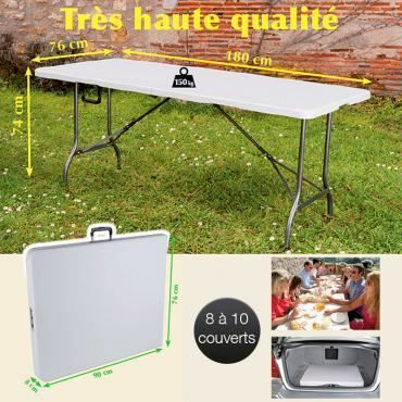 Table de r ception pliante ext rieur int rieur achat for Table exterieur carrefour