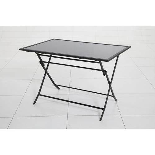 Table d 39 ext rieur pliante flexia 4 places noir achat for Table exterieur pliante