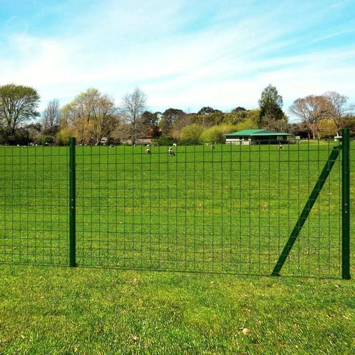 Dealpark Ensemble de clôture Grillage de Pelouse vert grillage cloture  jardin en Acier et PVC 1,7 x 10 m