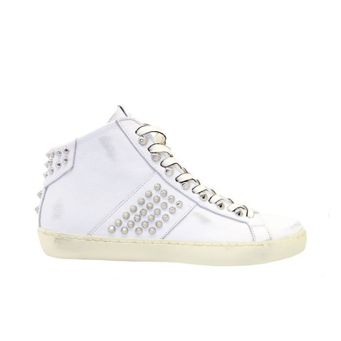 Leather Crown Femme Wiconic22 Blanc Cuir Baskets Blanc Achat Vente Basket Cdiscount