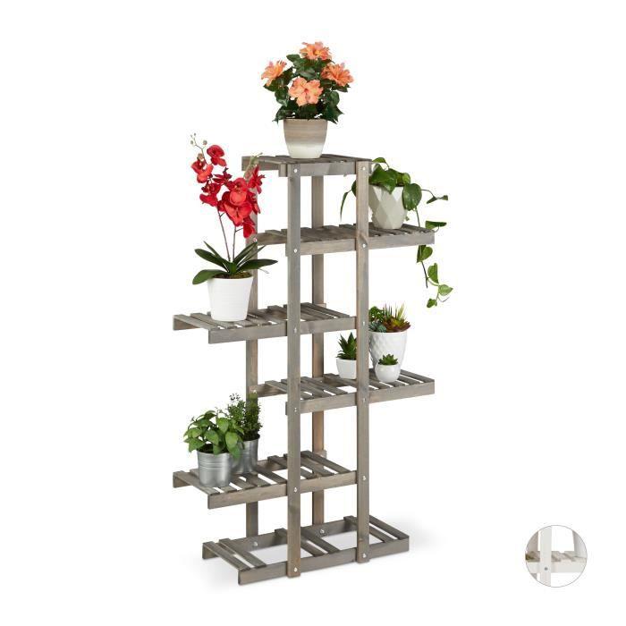 /Étag/ère Bois Blanc HxlxP: 83 x 83 x 25 cm int/érieur Relaxdays Escalier /à Fleurs 3 Niveaux Escalier Plantes