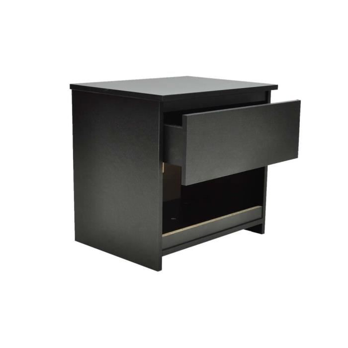 Lot de 2 table de chevet noir achat vente chevet lot for Table de chevet noire