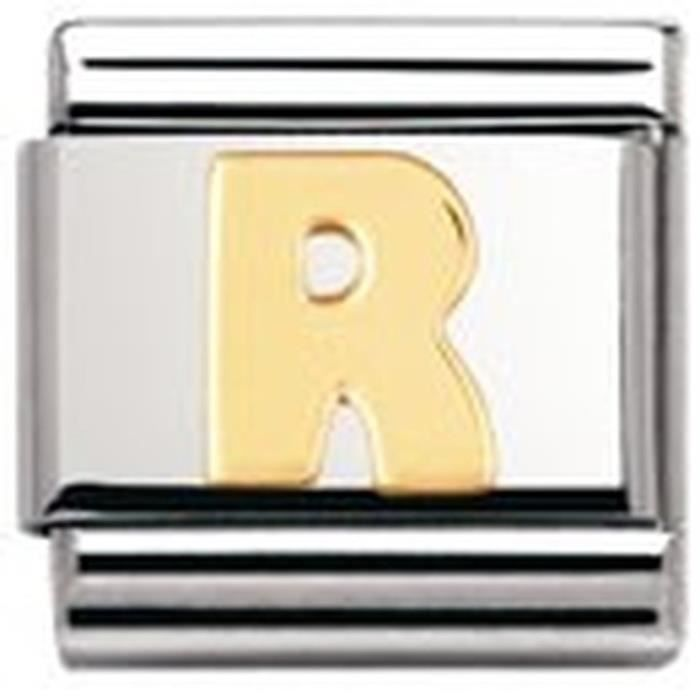 Nomination Womens Composable Classic Letter R Stainless Steel And 18k Gold